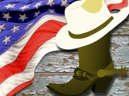 drawn cowboy boots on american flag background