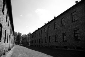 Auschwitz-Birkenau black and white picture
