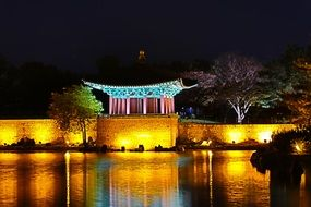 temple with night illumination in korea