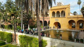 Tourists in the Seville Alcazar