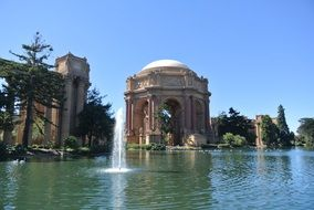 palace of fine arts in san francisco view from the water
