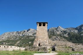 ruins of an old fortress in the mountains of albania