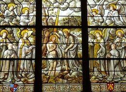 bible scene on the stained glass window