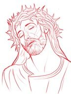 drawing of jesus christ with a wreath on his head