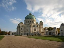 building with domes at the central cemetery in Vienna