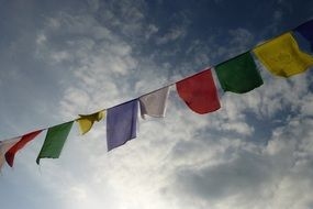 multicolored prayer flags in Nepal, Asia