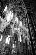 interior of a gothic cathedral in black and white image
