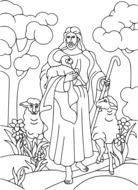 black and white graphic image of jesus christ among nature