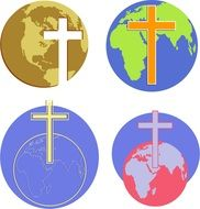 globes and Christian crosses