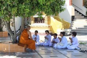 monks in a buddhist temple