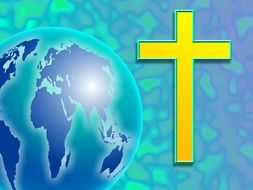 graphic image of a yellow cross near the globe