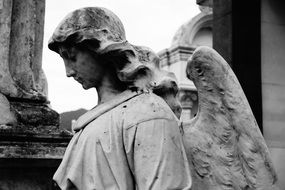 black and white photo of angel sculpture