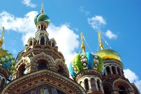 Cathedral with colorful domes in St. Petersburg under the bright sun