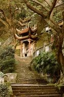 ancient buddhist Temple on rock, China