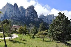 beautiful view of Montserrat mountain and Santa Cecília de Montserrat Benedictine monastery, spain, Catalonia