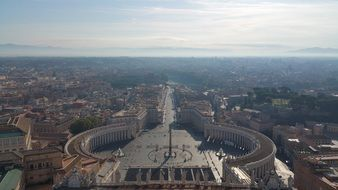 aerial view of St Peter\'s Basilica in Rome
