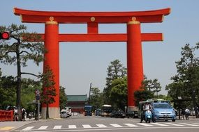 red wooden arch in japan