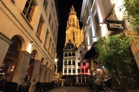 night street panorama in Antwerp, Belgium