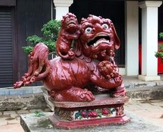 Dragon statue near a temple in Vietnam