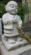 Stone Japanese monk statue