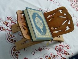 quran on a wooden stand