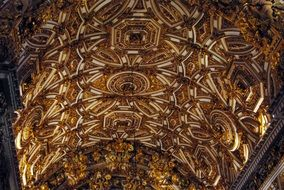ceiling with gold trim in são francisco church