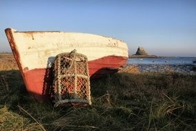 Crab Fishing Pot at Boat on Seacoast, uk, england, northumberland