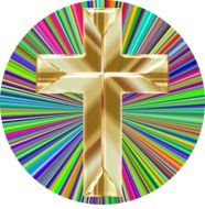 holographic golden cross on a prismatic background