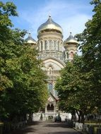 russian orthodox church with onion domes