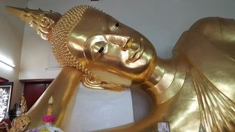 Golden Buddha Statue in temple, thailand