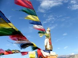 colorful Prayer flags at a monastery in Nepal