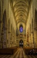 Ulm Minster interior at dusk, germany