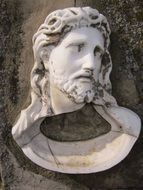 White stone religion statue of Jesus head