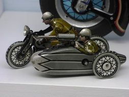 motorcycle with sidecar military metal figure