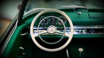 1957 Mercedes retro car interior