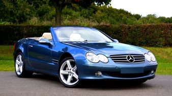 Mercedes Luxury Car of blue color
