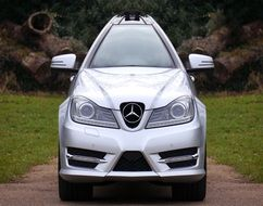 photo of the silver Mercedes car