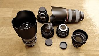 a variety of Canon lenses