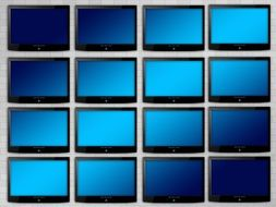 wall of blue monitors