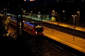 panoramic view of the train station at night