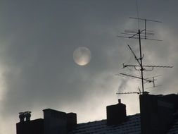 moon in the mystical gray sky
