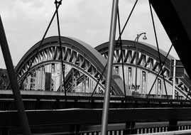 Black and white photo of the bridge over the channel