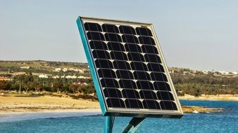 solar cells on the coast close-up