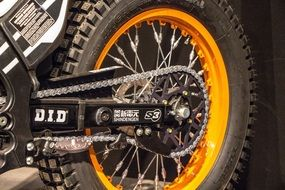 Motorcycle Chain and Axle close up