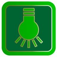 green icon with light bulb
