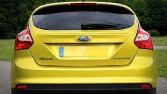 rear view of a yellow ford