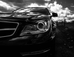 benz in black and white image