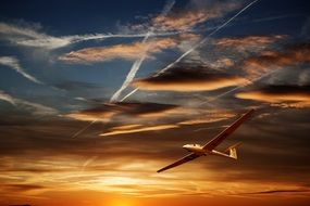 glider at the sunset