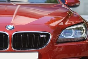Bmw M6, red Sports Car, front view