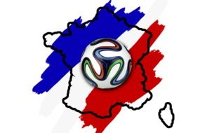 emblem with soccer ball and national colors of france